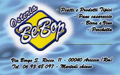 Biglietto da visita - BeBop