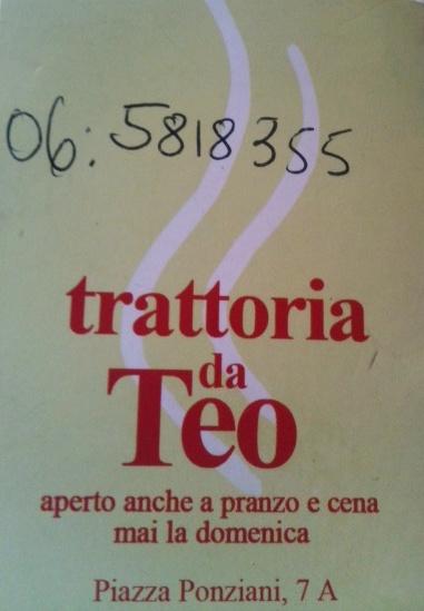 Biglietto da visita - Trattoria Da TEO